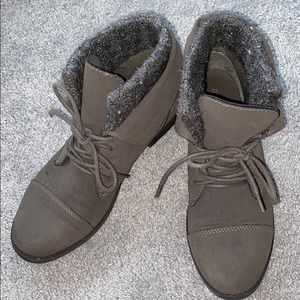 Madden Girl Grey Suede Boots
